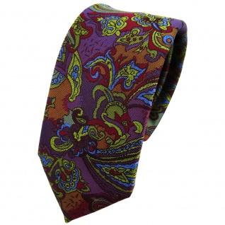 Schmale TigerTie Krawatte in violett olive blau rot mehrfarbig Paisley gemustert