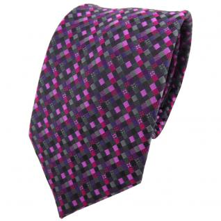 TigerTie Krawatte lila magenta rosa schwarz anthrazit grau gemustert - Binder