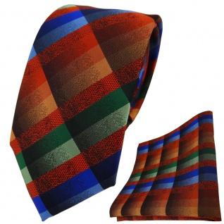 TigerTie Krawatte + Einstecktuch in orange blau braun grün kariert