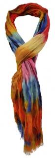 TigerTie Schal in orange rot rosa blau türkis braun gemustert - Gr. 180 x 50 cm