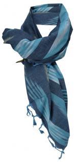 Halstuch in türkis blau beige gemustert mit Fransen - Gr. 100 x 100 cm