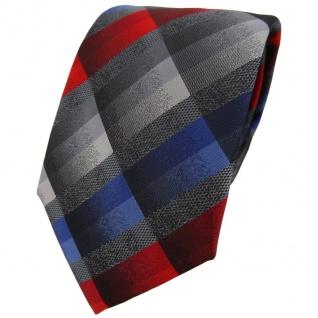 TigerTie Designer Krawatte in rot anthrazit blau silber grau kariert