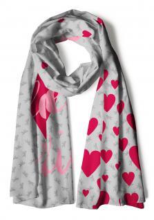 Schal rot grau rosa mit Schriftzug I love Berlin, Motive Herzen + Berliner Bär