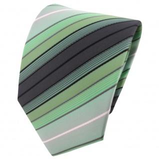TigerTie Designer Krawatte mint grün anthrazit schwarz silber gestreift - Binder