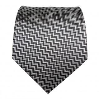 3er Set TigerTie Krawatte + Einstecktuch + Box in grau silber gestreift - Vorschau 5
