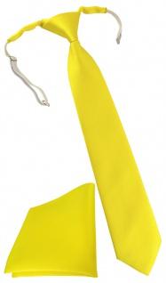 TigerTie Security Sicherheits Krawatte + Einstecktuch in gelb einfarbig Uni