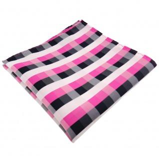 schönes TigerTie Einstecktuch pink blau royal weiß kariert - Tuch 100% Polyester