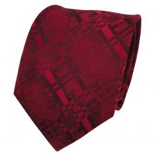 TigerTie Designer Seidenkrawatte rot rubinrot weinrot gemustert - Krawatte Seide