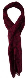 TigerTie Schal in bordeaux schwarz gemustert - 190 x 50 cm - 100% Wolle