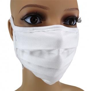 TigerTie Gesichtsmaske mit Nasenbügel Pique weiss gemustert mit Schnürbändchen