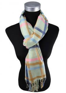 Damen Schal in grün rosa blau beige kariert Gr. 180 cm x 68 cm - Tuch Halstuch