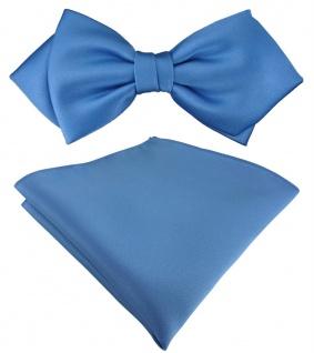 vorgebundene TigerTie Spitzfliege + Einstecktuch in azurblau Uni einfarbig + Box
