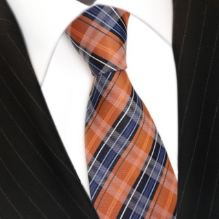 TigerTie Designer Seidenkrawatte orange blau dunkelblau weiß gestreift - Krawatte - Vorschau 3
