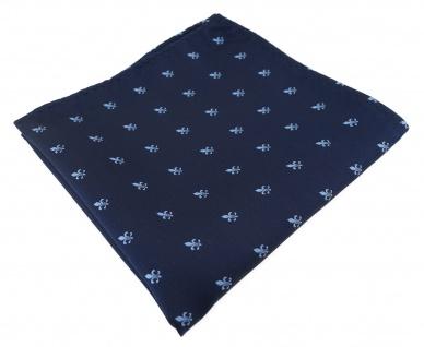 TigerTie Designer Einstecktuch in marine dunkelblau blau mit Lilien gemustert