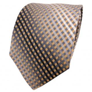 TigerTie Seidenkrawatte gold anthrazit grau silber kariert - Krawatte Seide
