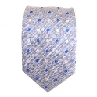 Mexx Designer Krawatte blau hellblau weiß gepunktet - Seide Leinen Binder Tie - Vorschau 2