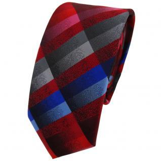 Schmale TigerTie Designer Krawatte rot blau rosa anthrazit silber grau kariert
