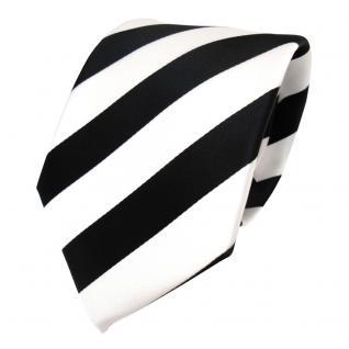 TigerTie Designer Krawatte - Schlips Binder schwarz weiss gestreift - Tie