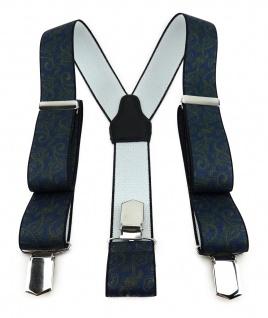 TigerTie Unisex Hosenträger mit 3 extra starken Clips - oliv blau Paisley