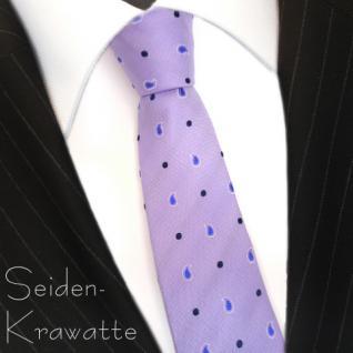 Mexx Seidenkrawatte flieder lila blau silber gepunktet - Krawatte Seide Binder