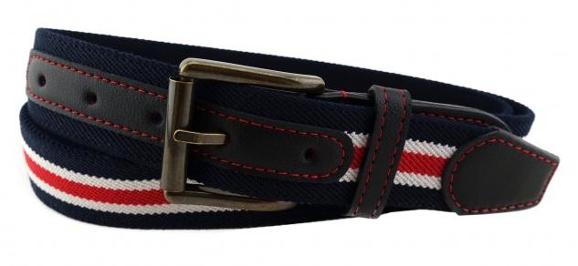 TigerTie - Stretchgürtel rot dunkelblau weiß gestreift - Bundweite 110 cm