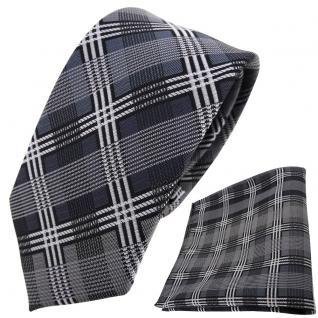 schmale TigerTie Krawatte + Einstecktuch silber anthrazit grau schwarz kariert