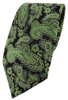 TigerTie Designer Krawatte in grün schwarz silber Paisley gemustert