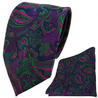 TigerTie Designer Krawatte +Einstecktuch lila grün marine pink Paisley gemustert