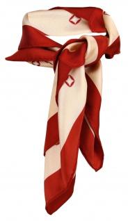 Damen Satin Nickituch in lachs rot gemustert - 100% Seide - Gr. 53 x 53 cm