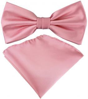 TigerTie Satin Fliege + Einstecktuch in rosa Uni einfarbig + Geschenkbox
