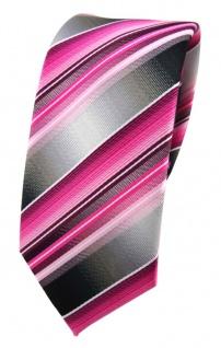 schmale TigerTie Designer Seidenkrawatte in rosa pink magenta grau gestreift
