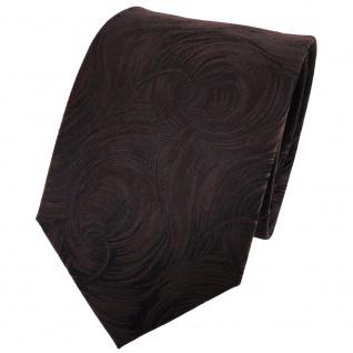 TigerTie Seidenkrawatte braun dunkelbraun schwarz gemustert - Krawatte Seide Tie