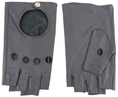 Damen Handschuhe fingerlos - hochwertiges weiches Schafsleder grau - Gr. 7, 5 - Vorschau 2