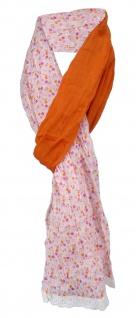 gecrashter Schal in orange rosa grau weiss lila geblümt gepunktet gemustert