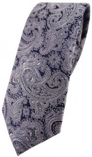 schmale TigerTie Designer Seidenkrawatte in grau dunkelblau Paisley gemustert