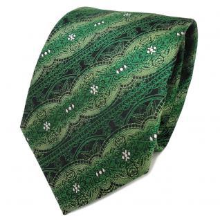 TigerTie Seidenkrawatte grün smaragdgrün silber schwarz gemustert - Krawatte Tie