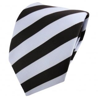 TigerTie Satin Krawatte blau hellblau blassblau schwarz gestreift - Binder Tie