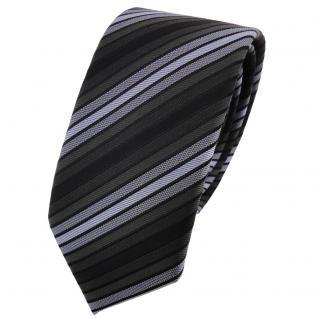 Schmale TigerTie Krawatte blau anthrazit schwarz gestreift - Schlips Binder Tie