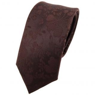 Schmale Designer Seidenkrawatte braun dunkelbraun gemustert - Krawatte Seide Binder