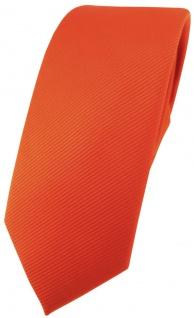 schmale TigerTie Designer Krawatte in orange leuchtorange einfarbig uni Rips