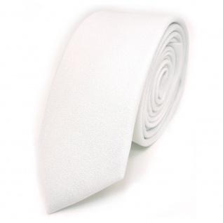 Schmale Designer Krawatte weiss Uni mit aufgerauhter Oberfläche - Schlips Binder