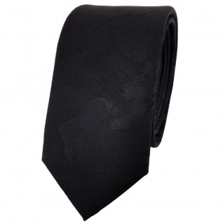 schmale TigerTie Designer Krawatte schwarz uni gemustert - Cravate Tie Binder