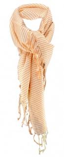Halstuch in apricot orange beige gestreift mit Fransen - Größe 100 x 100 cm