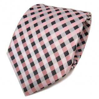 TigerTie Designer Seidenkrawatte rosa anthrazit weiß kariert - Krawatte Seide