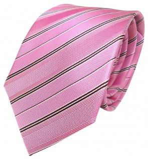 Schicke Krawatte pink rosa weinrot weiss gestreift reine Seide / Silk