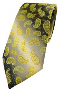 TigerTie Designer Krawatte in gelb anthrazit grausilber Paisley gemustert