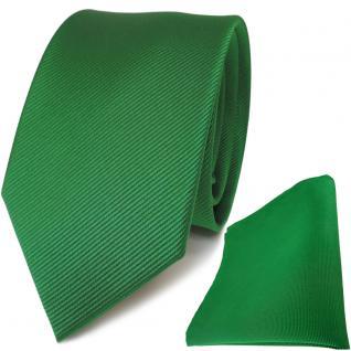 TigerTie Seidenkrawatte + Seideneinstecktuch in grün einfarbig Uni Rips
