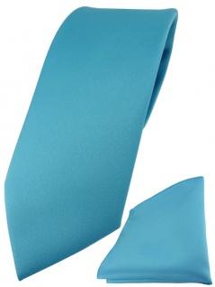 TigerTie Designer Krawatte + TigerTie Einstecktuch in türkis einfarbig uni