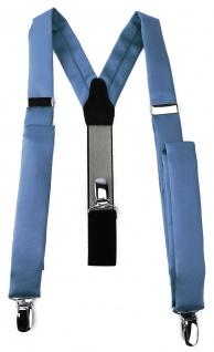 schmaler TigerTie Unisex Hosenträger mit 3 extra starken Clips - pastellblau Uni
