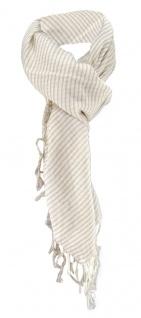 Halstuch in beige Sandfarbe gestreift mit Fransen - Größe 100 x 100 cm